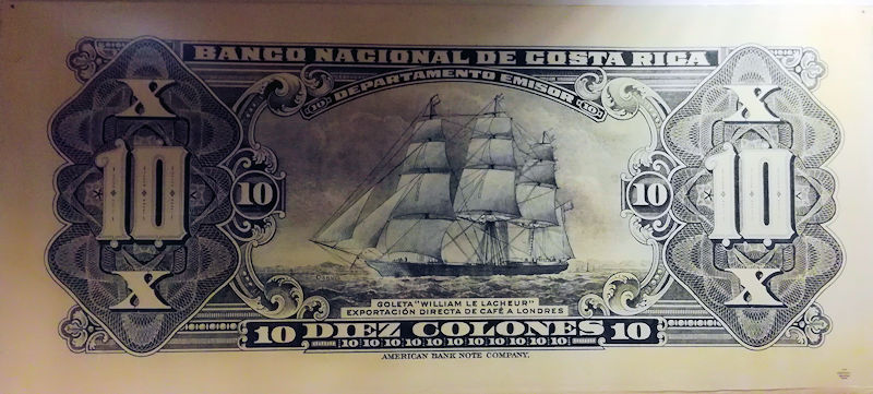 Image result for Billete de 50 colones, año 1857, República de Costa Rica