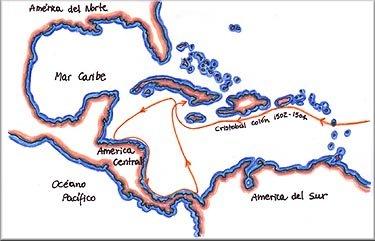 Mapa cuarto viaje de Colón